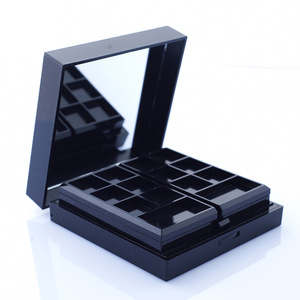 Double Layer black 8 color eyeshadow powder containers eye shadow case with mirror