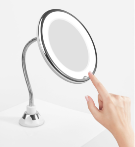 Flexible Strong Suction  360 degree rotation 10X Magnifying Fogless Make Up Wall Mounted Makeup Mirror with Light