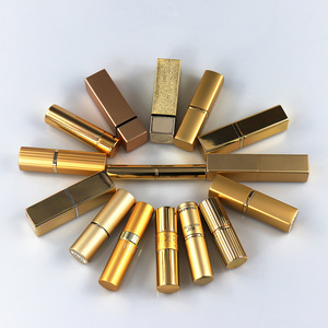 Luxury aluminum empty round / square lip balm packaging lip stick container case , gold lipstick tube