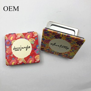 Square Mini Hand Cosmetic Tool Makeup Mirror with Patch Pattern