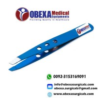 Blue Plasma Coated Eyebrow Tweezers