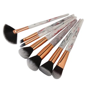Amazon Hot selling 7 pcs marble blusher make up brushes kit foundation eye shadow make-up marble fan makeup brush tool kits