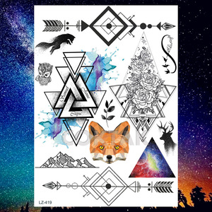 COKTAK HOT Customized Wolf Temporary Tattoos Stickers For Women Kids Men Body Art Waterproof Tattoo Paper Planet Face Jewels