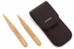 Professional eyebrow tweezers with gold plated and with pouch