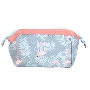 sedex bsci fashion flamingo printed cotton cosmetic bag makeup