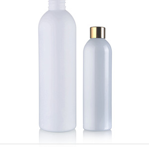 200ml 100ml 50ml matte white round shoulder plastic  PET lotion  bottle cosmetic with gold screw cap