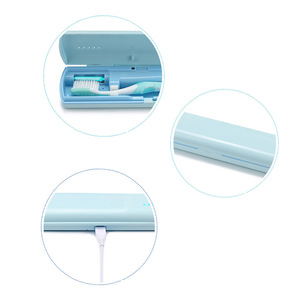 Portable Three Colors Option Travel Toothbrush Sanitizer Box With USB Connect Cable