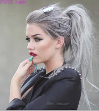 Wholesale grey human silver hair bundles