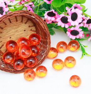 Multi-colored ,transparent orange color round shaped bath oil beads with orange scents-193010