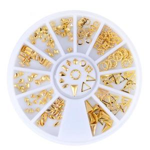 New products 2017 nail art metal stud gold japanese style rivet 3d nail supplies
