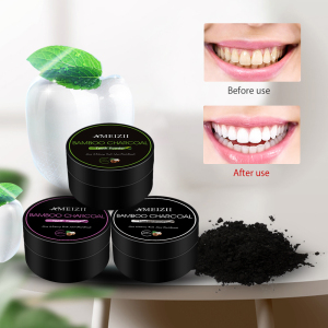 Wholesale Activated Bamboo Charcoal 30g Teeth Whitening Powder Dental Plaque Remover Brush Teeth Black Powder Cleaning Dientes