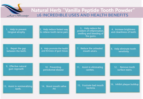 Food grade  Vanilla Peptide Tooth Powder teeth whitening & periodontal disease treatment Herbal Organic Added