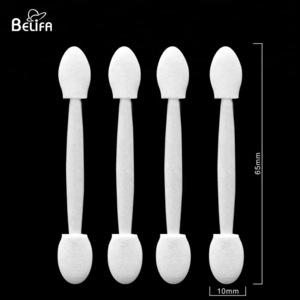 Belifa professional disposable dual sided oval tipped eyeshadow sponge brush makeup applicator