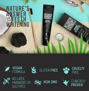 Natural fluoride free & sls free teeth whitening activated organic black coconut charcoal toothpaste