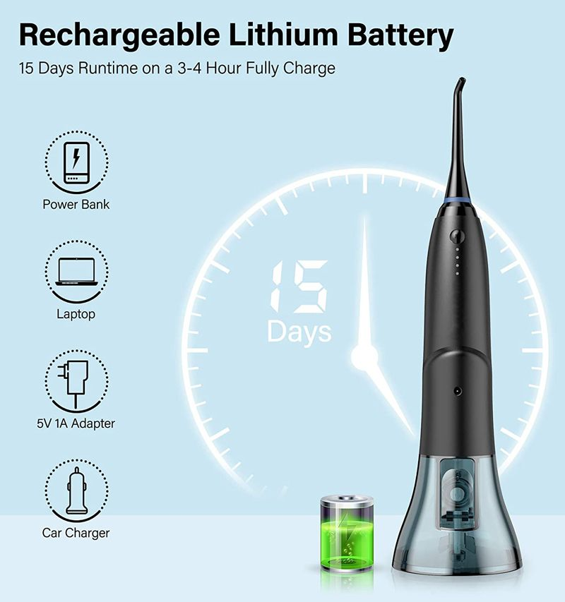 Portable Cordless Water Flosser With 260ML water tank USB Rechargeable dental flosser