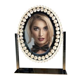 Diamond Hollywood Style LED Lighted Oval illuminated Makeup Vanity Mirror with Lights