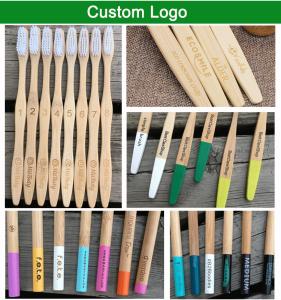 Personalized Custom Logo  Biodegradable Black Tooth Brush Natural Soft Bamboo Toothbrush