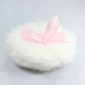 With Satin Ribbon Customized Fur Cosmetic Glitter Baby Powder Puff