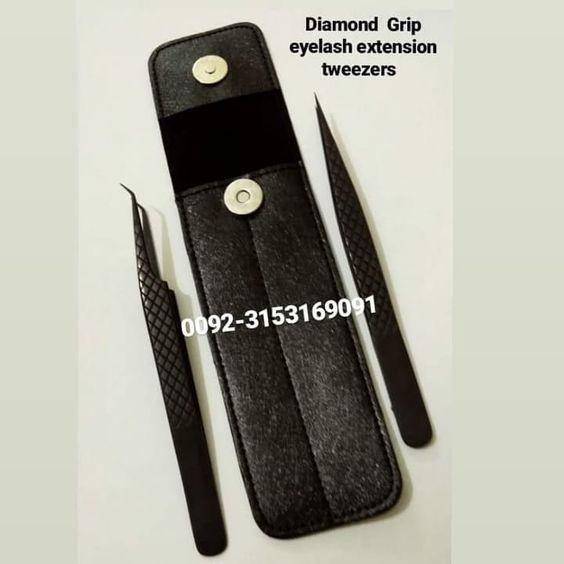 90 Degree and Straight Eyelash Extension Diamond Grip Volume Tweezers