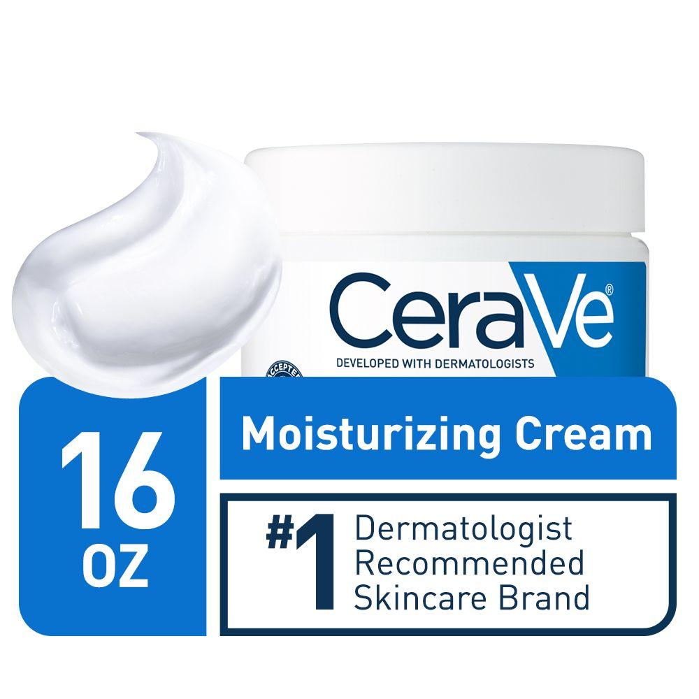 CeraVe Moisturizing Cream, Daily Face and Body Moisturizer for Normal to Dry Skin, 16 oz