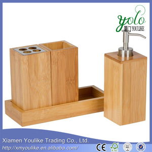 4 Piece Bamboo accessory Caddy Bath Set with tray for bathroom