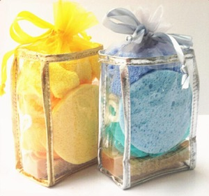 Glove Brush Sponge Flowers Travel Gift Hotel Bath Set