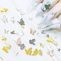 3D NailS Art Stickers Metal Butterfly Decoration For Nail Decor Fashion Top Salon Designer Factory Supplier Wholesaler
