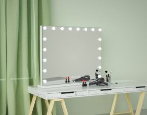 Wireless Speaker Makeup Mirror with Touch switch Cosmetic  Desktop vanity mirror with LED bulbs Dimming lighting