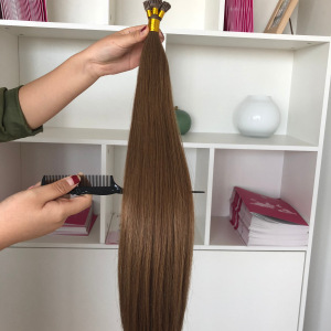 18inch 1gram/Strands 10A* Russian Remy Double Drawn Stick/I-Tip 100% Human Hair Extensions