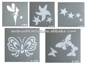 Safe on Skin Reusable and Durable Body Art Glitter Tattoo Stencil Designs
