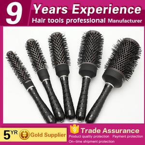 salon aluminium body rubber handle ionic boar bristle hair brush