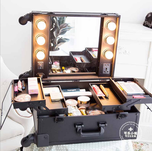 2015 New Arrival Factory Makeup Travel Outdoor Suitcase Makeup Box Cosmetics Box With LED Lamp Bulb Strip