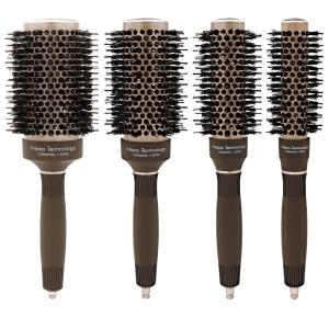 Brown Salon Nylon Hairdresser Hair Beauty Styling Bristle Boar Bristle Round Ceramic Straightening Hair Brush