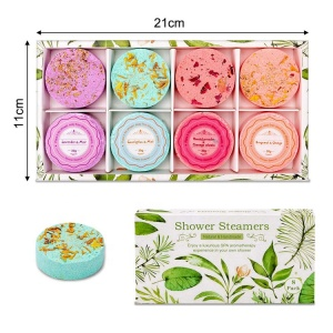 OEM wholesale private label custom packaging organic essential oil cbd natural aromatherapy shower steamers