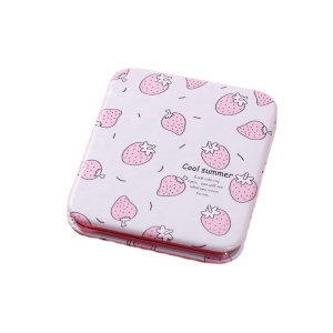 Compact Magnifying Travel Pocket Mirror Round Square Rectangle Shape Strawberry Pattern Mini Folding Makeup Mirror