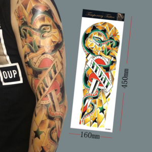 Big Body Art Arm Waterproof Tattoo Stickers Full Shoulder Temporary Tattoo Men Women Black Statue of Liberty