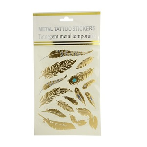 Gold Body Art Shaped Removable Temporary Tattoos Metallic Paper Stickers