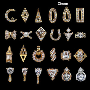 New Designs Nail Salon Supplies Zircon Gold Diy 3D Alloy Nail Art Charms
