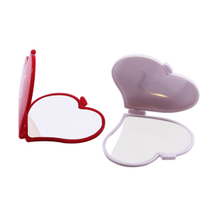 Bulk sale heart shape compact mirror plastic mini pocket mirror with private logo