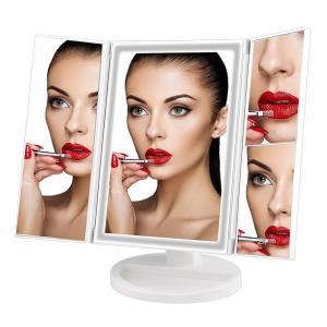 Desktop Travel Vanity Makeup Mirror Lighted LED Mirror foldable makeup mirror with LED lights