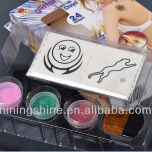 hot design glitter tattoo stencil ad ink kits for body and face art
