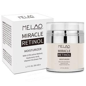 Melao Retinol Moisturizer Cream for Face and Eye Area - With 2.5% Active Retinol, Hyaluronic Acid, Vitamin E. Anti Aging Formula