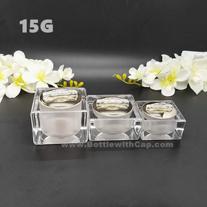 30*15g High-grade packaging cosmetics packing box square crystal lotion bottle cream jar