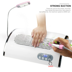 858-7 5 in 1 LED Light Nail Drill Machine 54W Nail Dryer Lamp 3 Fans 2 Filters 3 in 1 Nail Dust Collector
