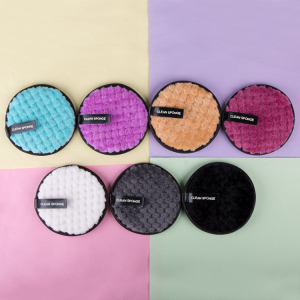 9cm Private Label Polyester Microfibre Face Collage Washable Reusable Makeup Remover Pad With Mesh Bag
