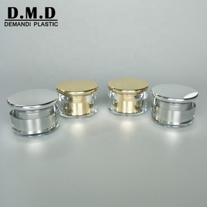 Empty round luxury acrylic cream container 15g 20g 30gram 30ml 1 oz 50gram 50ml silver cosmetic jar