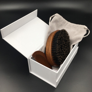 Private Label beard brush Boar bristle  brushes and combs Mens combs and brush set