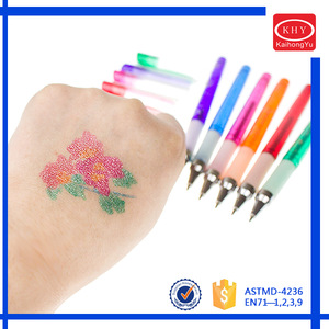 Temporary Glitter Color Body Skin Art Pen, Washable Tattoo Skin Pen With Tattoo Stencil For Drawing On Skin