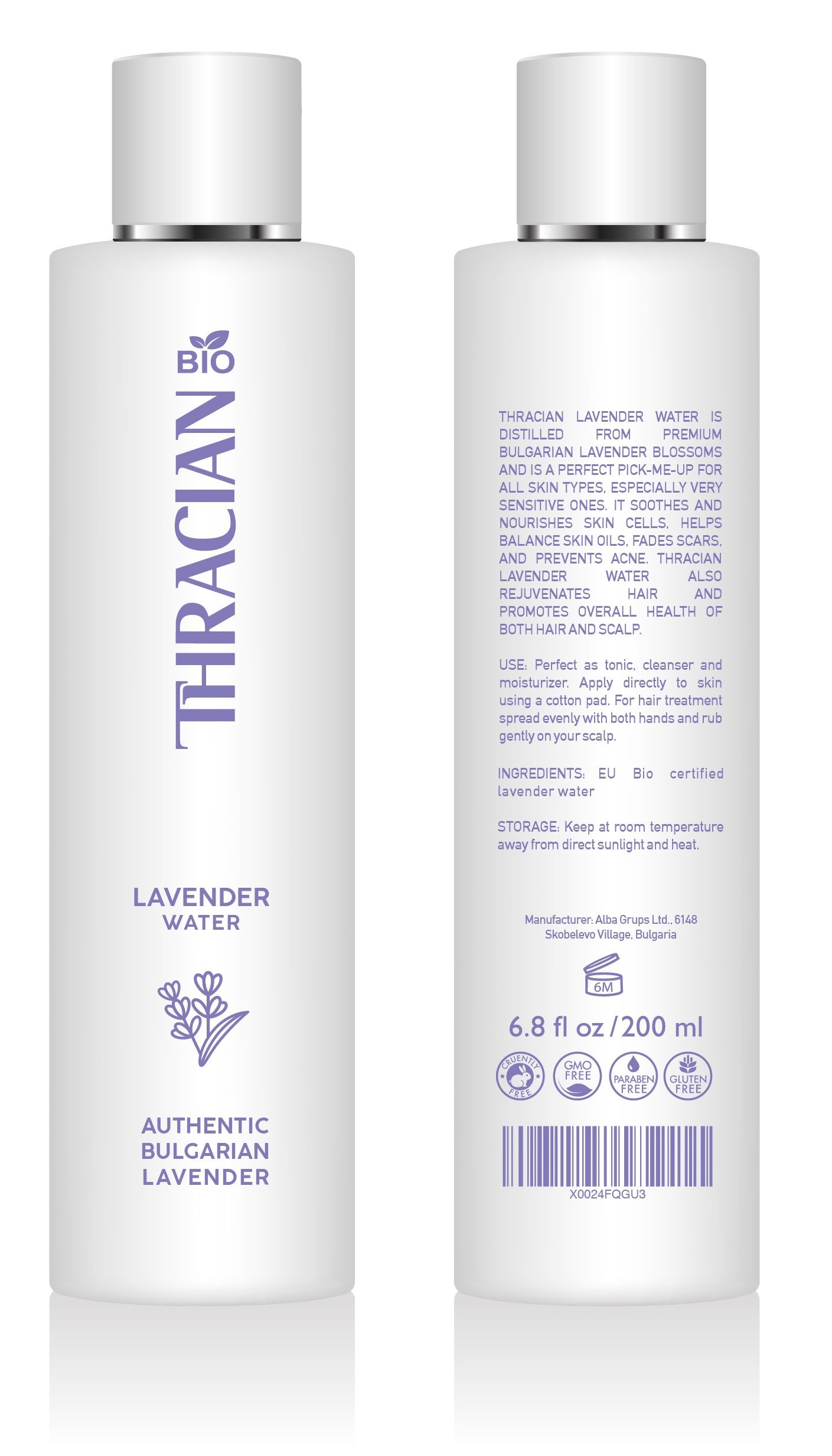Thracian Bio Bulgarian Lavender Water, 200 ml