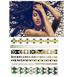 280 special design hand bracelet glitter metallic gold sexy nake woman body skin safe temporary tattoo sticker for hand